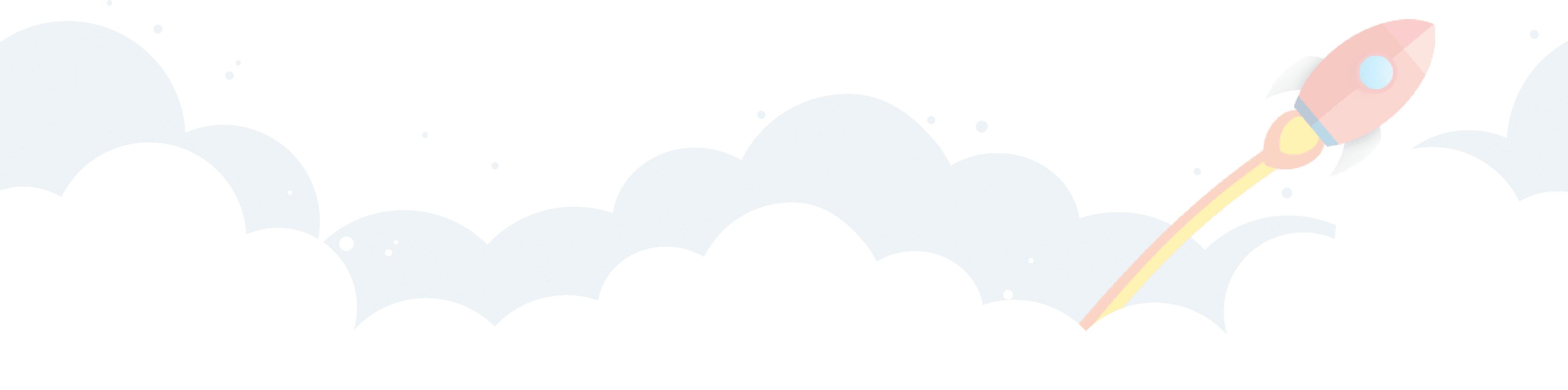 cohete con nubes